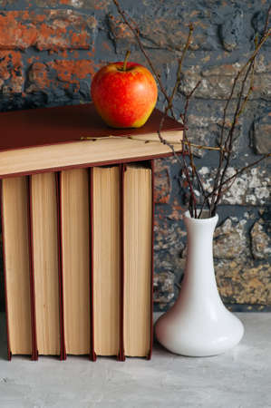 Libros antiguos, manzana y brunches en florero. Humor de otoño, conceptos de lectura Foto de archivo - 84873178