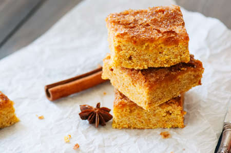 Pumpkin cornmeal bars with spices on a wooden background. Close up.