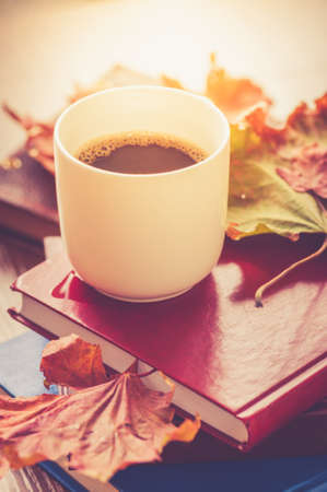 One cup of coffee and books with autumn maple leaves.