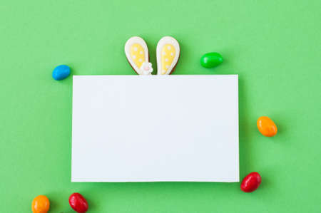 Easter background concept. Easter bunny ears under white empty paper on green background.