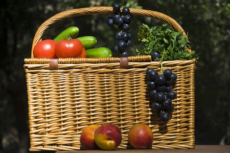 Picnic basket with autumn fruits Stock Photo - 8237998