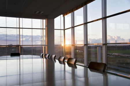 Empty conference room at sunset time
