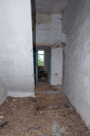 Hallaway stairs and door in the old abandoned palace