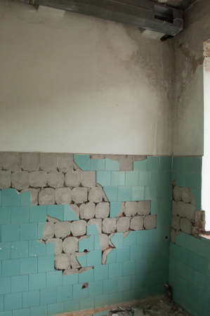 Ruined room with fallen blue tile