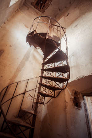 Metal steel stairs in the old abandoned church 写真素材