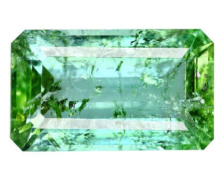 Natural gemstone green tourmaline on white background Stock Photo