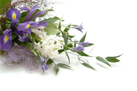 bouquet of flowers with irises and hyacinth Stock Photo