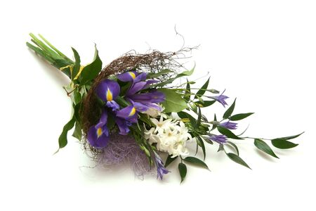 bouquet of flowers with irises and hyacinth photo