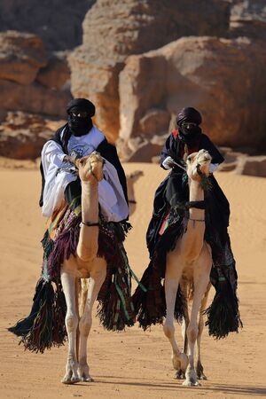 Guelta Archei with camels and nomads. This gelt is one of the largest in the Sahara. Chad.