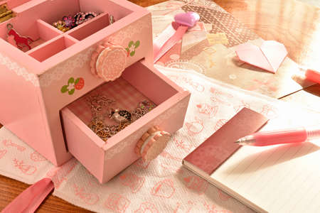 barrettes: Childrens caskets for jewelry, brooches, notepad with a pen. St. Valentines Day
