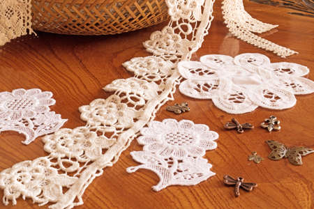 Fringe or lace tapes in a wicker basket