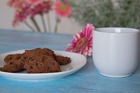 semisweet: chocolate chip cookies on white plate wih cup of coffe on blue background Stock Photo
