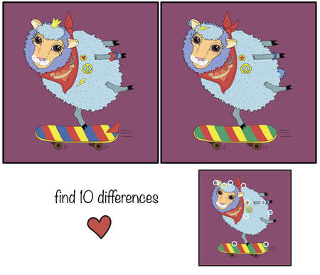 Lamb on a skateboard. Childrens educational game find 10 differences.
