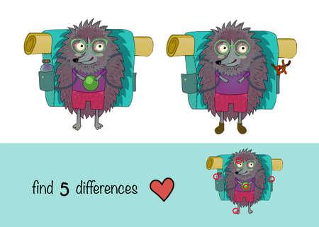 hedgehog traveler kids gsmes find 5 differences Illustration