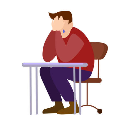 man sits at a table covers his face with his hands vector illustration isolated on a white background