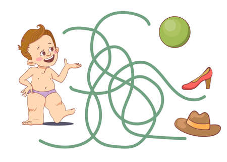 Children's game find the way to the ball. A little boy in a diaper, a green ball, a red shoe and a brown hat. Vector isolated on a white background. Vettoriali