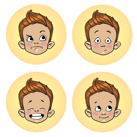 child with emotions, screensavers for avatars. Vector illustration isolated on white background.