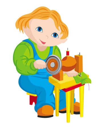 The child - seamstress Illustration