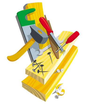 Tools on work with a tree and boards Illustration
