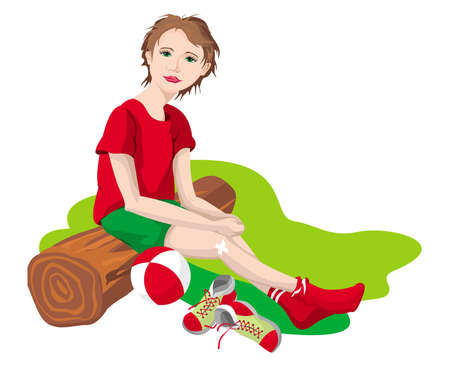 The girl sitting on a bench for the spare players Illustration
