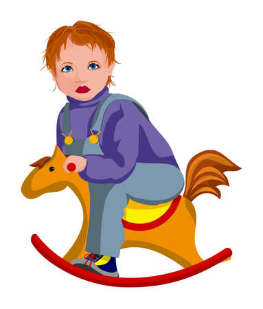The child shaking on the toy horse