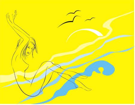 The girl on a beach Illustration