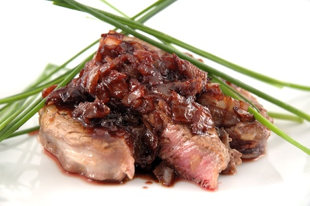 bbq ribs: FIlet mignon isolated in white Stock Photo