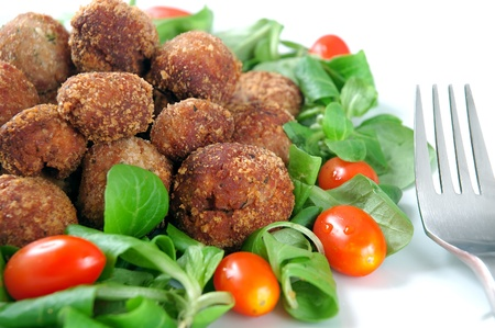 Meatballs with fresh vegetables photo