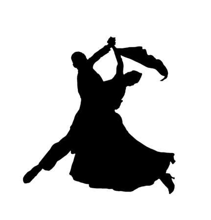 shadow image of the isolated slowfox dance Stock Photo