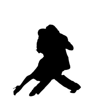 Tango dance in the shadow of isolated images Stock Photo