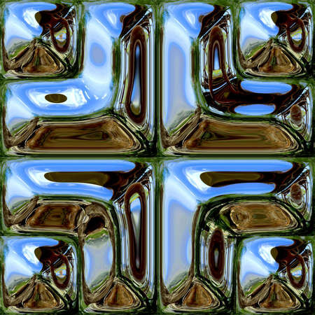 Sample of reflective tiles distorted environment Stock Photo