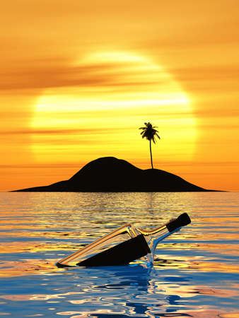 Sunset swims in a bottle mail on a desert island in the sea.