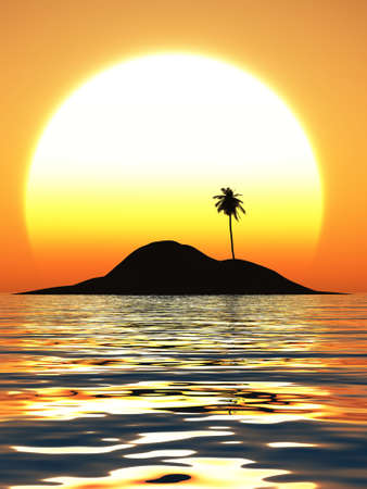 The sea in a small island behind the sun goes down.