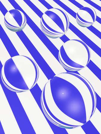 distort: Glass globes distort striped surface.