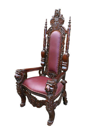 Throne-like armchair in white background