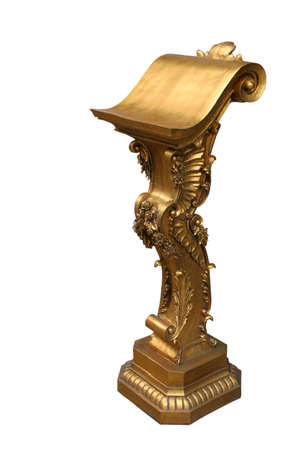 Decorated gilded pulpit, lectern. photo