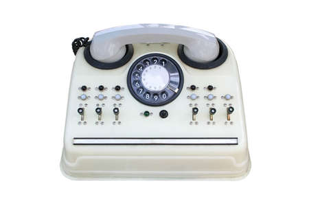 old white telephone, with a centre. Stock Photo - 5376352