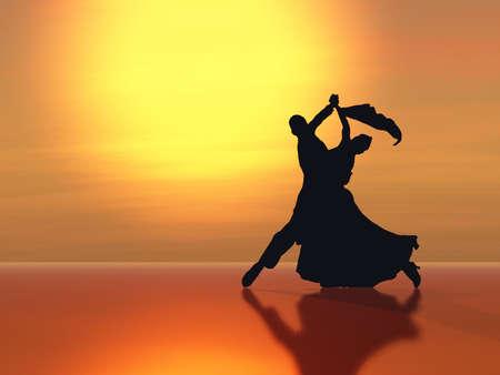 bailando salsa: Bailando a la luz del sol poniente. Foto de archivo