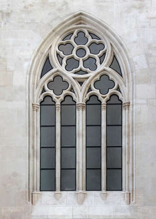 Gothic style church, decorated window. Stock Photo