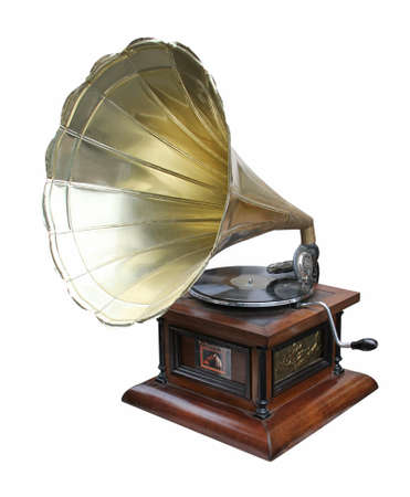 An old brass horn gramophone and record.