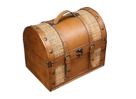 Old-style travel bag with a white background. Stock Photo - 7167428