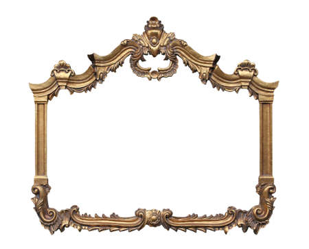 Picture gold frame with a decorative pattern. Stock Photo