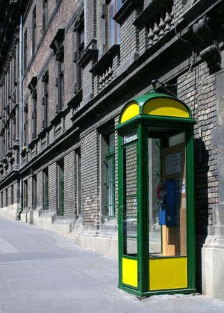 Urban street detail phone booth.