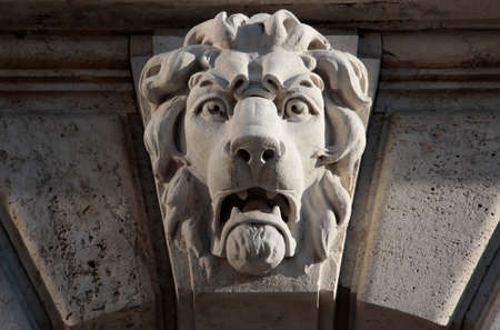 Renaissance building decorated stone lion in the Buda Castle  photo