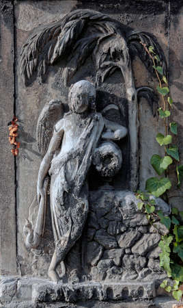 Eroded cemetery angel statue with palm tree