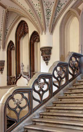railing: Ornate mansion staircase railing. Stock Photo