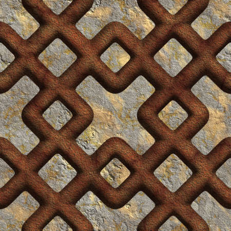 Rusty, red, seamless tileable decorative background pattern Stock Photo