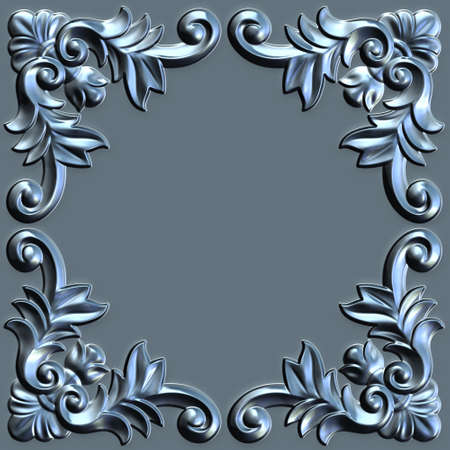 3d swirl floral luxury background decorative ornament metal frame.