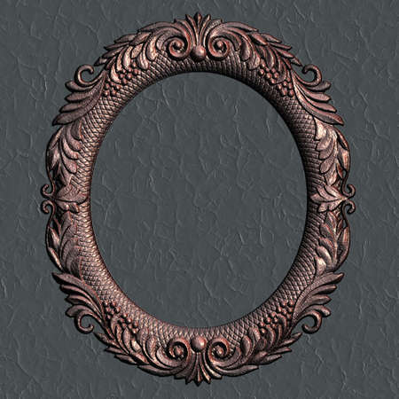 the borderline: Ornate battered empty picture frame. Stock Photo