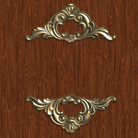 wood carving 3d: Vintage floral element for design, greeting card, invitation. Stock Photo